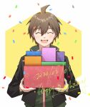 1boy :d ^_^ ahoge bangs black_jacket blush box brown_hair closed_eyes confetti danganronpa:_trigger_happy_havoc danganronpa_(series) dated facing_viewer gift gift_box green_hoodie hair_between_eyes happy_birthday holding holding_box hood hood_down hoodie jacket long_sleeves male_focus meipoi naegi_makoto open_mouth short_hair smile solo upper_body upper_teeth white_background