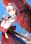 2020 2girls absurdres animal animal_ears bangs blue_sky cat_ears cat_girl chinese_zodiac clear_sky closed_mouth commentary day eyebrows_visible_through_hair force_(fossan_01) from_side frown hakama highres holding holding_animal holding_umbrella japanese_clothes kimono long_sleeves looking_at_another medium_hair minigirl mountain mouse mouse_girl multiple_girls new_year oil-paper_umbrella orange_eyes original outdoors red_eyes red_hakama sheath short_ponytail silver_hair sky smile standing umbrella white_kimono wide_sleeves year_of_the_rat