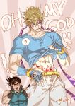 2boys ? abs battle_tendency blonde_hair blue_eyes blue_gloves blue_shirt blush bracelet brown_hair caesar_anthonio_zeppeli collarbone commentary confused dated english_commentary english_text eyebrows_behind_hair facial_mark feathers fingerless_gloves gloves green_eyes hair_feathers hands_on_own_cheeks hands_on_own_face headband highres jewelry jojo_no_kimyou_na_bouken joseph_joestar_(young) lifted_by_self looking_down male_focus multiple_boys navel open_mouth pubic_tattoo sashiyu shirt shirt_lift short_hair short_sleeves signature speech_bubble spoken_question_mark surprised sweatdrop symbol_commentary t-shirt tattoo triangle_print