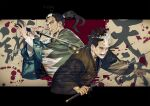 2boys ainu_clothes beard black_hair black_kimono black_suit blood blood_splatter blood_stain cropped_torso facial_hair fighting_stance glitch golden_kamuy grey_eyes haori highres hijikata_toshizou_(golden_kamuy) holding holding_sword holding_weapon japanese_clothes katana kimono light_smile long_hair long_sleeves male_focus multiple_boys old old_man ponytail sword thick_eyebrows transformation w55674570w weapon white_hair wrinkles yoichirou_(golden_kamuy) younger