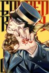 1boy black_hair blue_jacket bodypaint buttons claw_pose close-up collared_jacket golden_kamuy hat head_tilt imperial_japanese_army jacket kepi male_focus military military_hat military_uniform scar scar_on_cheek scar_on_face scar_on_nose scarf short_hair simple_background smile solo spiky_hair sugimoto_saichi uniform upper_body w55674570w yellow_scarf
