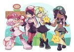 4girls callie_(splatoon) cephalopod_eyes crop_top dark_skin dark_skinned_female fangs fire_flower hat marie_(splatoon) marina_(splatoon) mario_(series) midriff mole mole_under_mouth multiple_girls navel pantyhose pearl_(splatoon) power-up short_shorts shorts smile splatoon_(series) splatoon_1 splatoon_2 star_(symbol) starman_(mario) suction_cups super_mario_bros. super_mushroom tentacle_hair wong_ying_chee zipper_pull_tab