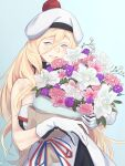 1girl beret blonde_hair blue_eyes blush flower gloves hair_between_eyes hat highres kantai_collection long_hair multicolored multicolored_clothes multicolored_gloves open_mouth pink_flower pom_pom_(clothes) purple_flower richelieu_(kantai_collection) shingyou_(alexander-13) smile solo upper_body white_flower white_headwear