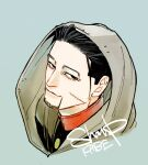 1boy artist_name black_eyes black_hair black_jacket blue_background buttons cape closed_mouth collared_jacket commentary_request facial_hair from_side golden_kamuy grey_cape hair_slicked_back hair_strand hood hood_up hooded_cape imperial_japanese_army jacket looking_at_viewer male_focus military military_uniform ogata_hyakunosuke scar scar_on_cheek scar_on_face shaapu short_hair simple_background smile solo stubble undercut uniform upper_body