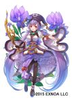 1girl :d black_gloves black_legwear bow_(weapon) flower flower_knight_girl frills full_body gloves hat hat_flower holding holding_bow_(weapon) holding_weapon jewelry konagi_(flower_knight_girl) long_hair looking_at_viewer mataichi_mataro necklace object_namesake official_art open_mouth pantyhose partially_fingerless_gloves purple_hair purple_headwear purple_skirt red_eyes see-through shirt shoes single_glove skirt smile solo standing twintails very_long_hair weapon white_shirt