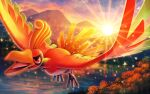 clouds commentary_request flying gen_2_pokemon ho-oh legendary_pokemon mofge mountainous_horizon no_humans open_mouth outdoors pokemon pokemon_(creature) red_eyes sky solo sparkle sun sunrise talons tongue water