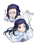 1girl absurdres ainu ainu_clothes arrow_(symbol) asirpa bandana black_hair blue_bandana blue_eyes cape closed_mouth commentary_request ear_piercing earrings fur_cape gikurisurprise golden_kamuy grimace highres hoop_earrings jewelry long_hair looking_at_viewer looking_down piercing sidelocks simple_background smile solo sparkle translated upper_body white_background white_cape