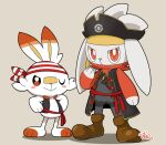 blush_stickers boots brown_eyes brown_footwear closed_mouth clothed_pokemon gen_8_pokemon hat hinako_iroiro looking_at_viewer one_eye_closed pirate_costume pirate_hat pokemon pokemon_(creature) raboot sash scorbunny smile standing symbol_commentary toes vest