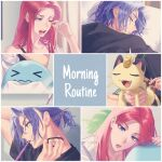 >_< 1boy 1girl absurdres blue_eyes blue_hair brushing closed_eyes commentary eyelashes fangs gen_1_pokemon gen_2_pokemon gi_xxy hair_brush head_on_pillow highres holding indoors james_(pokemon) jessie_(pokemon) long_hair meowth mouth_hold one_eye_closed open_mouth parted_lips pillow pokemon pokemon_(anime) pokemon_(creature) redhead sleeping team_rocket teeth tongue toothbrush wavy_mouth wobbuffet