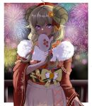 1girl :d absurdres aerial_fireworks ahoge animal_ears blonde_hair blush border bow braid cowboy_shot curled_horns fan fan_over_face fireworks fur-trimmed_kimono fur_trim hair_bow highres holding holding_fan hololive horns japanese_clothes kimono long_hair long_sleeves looking_at_viewer low_braid open_mouth paper_fan railing red_bow red_kimono rye_(hyn_uka) sheep_ears sheep_horns smile solo standing tsunomaki_watame twin_braids violet_eyes white_border