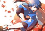 1boy absurdres autumn_leaves bangs blue_hair closed_mouth commentary eyebrows_visible_through_hair falkner_(pokemon) from_above gym_leader highres male_focus pokemon pokemon_(game) pokemon_hgss pon_yui sash shiny shiny_hair shoes short_sleeves sitting solo vambraces white_legwear white_sash