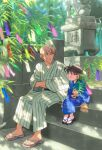 2boys :d amuro_tooru bamboo bangs black-framed_eyewear black_sash blonde_hair blue_eyes blue_kimono blurry blush brown_hair brown_sash child closed_mouth commentary_request crossed_arms dappled_sunlight day depth_of_field edogawa_conan eye_contact full_body glasses hair_between_eyes hands_in_opposite_sleeves highres holding japanese_clothes k_(gear_labo) kimono long_sleeves looking_at_another male_focus meitantei_conan multiple_boys obi open_mouth print_kimono sash short_hair sitting sitting_on_stairs smile stairs statue stone_stairs striped sunlight tanabata tanzaku toenails vertical-striped_kimono vertical_stripes wide_sleeves yukata zouri