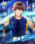 blue_eyes brown_hair character_name green_eyes heterochromia idolmaster idolmaster_side-m jacket short_hair smile takajou_kyouji