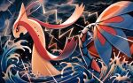 clouds commentary_request gen_3_pokemon lightning milotic mofge no_humans open_mouth outdoors pokemon pokemon_(creature) rain red_eyes solo storm swimming water