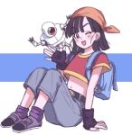 1girl ;d ankle_boots arm_at_side arm_support backpack bag bandana bangs belt black_belt black_gloves black_hair blue_background boots crop_top danbo_(4478299) denim dot_nose dragon_ball dragon_ball_gt eyebrows_visible_through_hair eyelashes eyes_visible_through_hair fingerless_gloves fingernails flat_chest full_body giru_(dragon_ball) gloves grey_footwear hand_up happy head_scarf jeans legs_together light_blush looking_at_viewer loose_socks midriff navel on_ground one_eye_closed open_mouth orange_headwear pan_(dragon_ball) pants parted_bangs purple_legwear robot short_hair simple_background sitting smile socks solo straight_hair tareme two-tone_background waving white_background