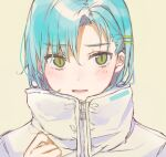 1girl bangs blue_hair blush brown_background eyebrows_visible_through_hair green_eyes hair_between_eyes hair_ornament hairclip hand_up heremia high_collar highres jacket looking_at_viewer original parted_bangs parted_lips portrait simple_background solo white_jacket