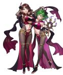2girls bangs bodysuit breasts dorothea_arnault ekao fire_emblem fire_emblem:_genealogy_of_the_holy_war fire_emblem_heroes full_body highres large_breasts lene_(fire_emblem) loincloth long_hair multiple_girls official_art pelvic_curtain revealing_clothes skin_tight transparent_background