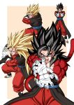 1boy absurdres bare_pecs biceps black_hair dbkenkyuusei dragon_ball dragon_ball_heroes earrings fusion fusion_dance highres jewelry monkey_boy monkey_tail no_nipples pants potara_earrings red_fur red_pants solo spiky_hair super_saiyan super_saiyan_1 super_saiyan_3 super_saiyan_4 tail vegetto vegetto_(xeno)