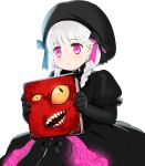 1girl beret black_bow black_dress black_gloves black_headwear black_legwear blush book bow braid closed_mouth commentary_request doll_joints dress elbow_gloves fate/extra fate_(series) feet_out_of_frame frilled_dress frills gloves hat hat_bow holding holding_book joints knees_up korean_commentary long_hair looking_away nonockha nursery_rhyme_(fate/extra) open_mouth pantyhose puffy_short_sleeves puffy_sleeves short_sleeves silver_hair simple_background sitting solo striped striped_bow twin_braids twintails violet_eyes white_background yellow_eyes
