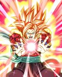 absurdres bare_pecs biceps dbkenkyuusei dragon_ball dragon_ball_heroes fusion fusion_dance gogeta gogeta_(xeno) highres huge_filesize incoming_attack kaiouken kamehameha metamoran_vest monkey_boy monkey_tail no_nipples pants red_fur spiky_hair super_saiyan super_saiyan_3 super_saiyan_4 tail