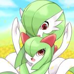 2girls arms_up bangs blue_sky bob_cut clouds colored_skin commentary_request day eye_contact field flower flower_field gardevoir gen_3_pokemon green_hair green_skin hair_over_one_eye happy highres hug hug_from_behind kirlia looking_at_another looking_down looking_up multicolored multicolored_skin multiple_girls open_mouth outdoors petals pokemon pokemon_(creature) red_eyes rorosuke short_hair sitting sitting_on_lap sitting_on_person sky smile two-tone_skin upper_body white_skin yellow_flower