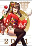 1girl 2021 :d black_hair black_legwear bow candy_apple chinese_zodiac egasumi fang floral_print food hair_bow japanese_clothes kimono making-of_available new_year obi open_mouth original red_bow red_eyes red_kimono sash sidelocks smile tasuku_(user_fkzv3343) thigh-highs twintails wide_sleeves year_of_the_ox yellow_bow