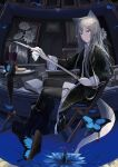 1girl absurdres alcohol animal_ears bangs black_clothes book bug butterfly chair cleaning cleaning_sword cleaning_weapon cup drinking_glass flower grey_hair grey_tail highres holding holding_sword holding_weapon indoors insect long_hair long_sleeves looking_at_viewer mikisai open_mouth original painting_(object) sidelocks sitting solo sword tail thigh-highs thigh_strap violet_eyes weapon wine wine_glass