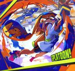 1girl bike_shorts black_shorts blurry commentary copyright_name dark_skin depth_of_field domino_mask eyebrows_visible_through_hair fangs full_body inkling long_hair mask midair motion_blur motojima_hakka nintendo open_mouth orange_eyes orange_hair paint paint_splatter pointy_ears print_shirt shirt shoes shorts sneakers solo splatoon_(series) splatoon_1 t-shirt tentacle_hair thick_eyebrows very_long_hair virtual_youtuber wristband