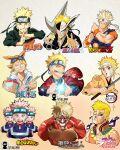 1boy a2t_will_draw araki_hirohiko_(style) bandana bleach blonde_hair blue_eyes boku_no_hero_academia copyright_name dragon_ball dragon_ball_z eating food gotouge_koyoharu_(style) grin highres holding holding_sword holding_weapon isayama_hajime_(style) japanese_clothes jojo_no_kimyou_na_bouken katana kimetsu_no_yaiba kimono kishimoto_masashi_(style) kubo_tite_(style) kunai looking_at_viewer male_focus mask menacing_(jojo) multiple_style_parody multiple_views muscular naruto naruto_(series) naruto_shippuuden oda_eiichirou_(style) one_eye_closed one_piece orange_eyes parody rasengan red_eyes shingeki_no_kyojin short_hair smile style_parody sword titan_(shingeki_no_kyojin) toriyama_akira_(style) u.a._gym_uniform uzumaki_naruto weapon whisker_markings