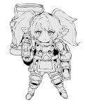 1girl bag boots closed_mouth commentary ddari dwarf fewer_digits full_body gloves greyscale hammer highres holding holding_hammer holding_weapon league_of_legends looking_at_viewer monochrome pointy_ears poppy simple_background solo twintails weapon white_background yordle