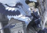 1girl animal_ears bangs black_dress blonde_hair bow breasts closed_mouth dress eyebrows_visible_through_hair glasses green_eyes hands_up hat hat_bow highres holding holding_weapon house looking_ahead medium_breasts medium_hair mikisai original sidelocks sky solo weapon
