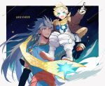 2boys black_gloves blonde_hair blue_eyes blue_hair bomber_jacket carrying earrings fate/grand_order fate_(series) gloves goggles goggles_on_head hally highres jacket jewelry long_hair multiple_boys pendant pointing red_eyes romulus_quirinus_(fate/grand_order) sash scarf shooting_star shoulder_carry spacesuit toga voyager_(fate/requiem)