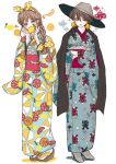 2girls blue_kimono blush bow braid brown_eyes crossed_arms earrings food fruit ginkou_(atmzh) grey_headwear hair_bow hands_up hat high_heels highres japanese_clothes jewelry kimono lemon lipstick long_hair makeup multiple_girls obi orange orange_slice original polka_dot polka_dot_bow print_kimono red_lips sandals sash short_hair simple_background standing white_legwear wide_sleeves