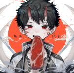 1boy absurdres black_hair clouds facial_mark food highres hisame_mon horns looking_at_viewer male_focus meat mouth_hold oni oni_horns open_mouth original red_eyes red_horns shadow short_hair solo