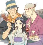 1girl 2boys ainu alternate_costume asirpa black_eyes black_hair black_vest blue_bandana blue_eyes blush buzz_cut candy_apple casual collared_jacket earrings facial_hair food friends goatee golden_kamuy grey_hair hachimaki happi hat headband hoop_earrings imperial_japanese_army jacket japanese_clothes jewelry kepi kimono long_hair long_sleeves military military_hat military_uniform multiple_boys purple_kimono scar scar_on_cheek scar_on_face scar_on_nose shiraishi_yoshitake short_hair sideburns simple_background solo spiky_hair squid sugimoto_saichi uniform very_short_hair vest w55674570w