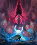 aura cloak from_behind garrett_hanna grey_cloak grimm_(hollow_knight) hanging highres hollow_knight horns knight_(hollow_knight) mask no_humans open_cloak open_clothes red_eyes traditional_media upside-down weapon