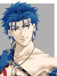 1boy blue_hair bodypaint close-up closed_mouth crescent_necklace cu_chulainn_(fate)_(all) earrings fate/grand_order fate_(series) jewelry lancer looking_to_the_side male_focus red_eyes simple_background smile solo spiky_hair strap type-moon yanaki_(ynyaan_3)