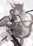 1girl animal_ears arms_up bangs eyebrows_visible_through_hair eyes_visible_through_hair floating_clothes floating_hair grey_eyes grey_hair grey_tail highres holding holding_knife holding_sword holding_weapon knife long_hair looking_at_viewer mikisai open_mouth original sidelocks simple_background solo sword tail thigh_strap weapon white_background white_legwear