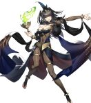 1girl bangs black_hair breasts bridal_gauntlets cozy fire_emblem fire_emblem_awakening fire_emblem_heroes full_body highres jewelry loincloth long_hair medium_breasts official_art skin_tight solo tharja_(fire_emblem) tiara transparent_background