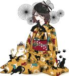 1girl animal_print black_cat black_gloves black_headwear brown_eyes brown_hair cat cat_print full_body ginkou_(atmzh) gloves hands_up highres japanese_clothes kimono lipstick looking_at_viewer makeup medium_hair obi original red_lips sash simple_background sitting steepled_fingers tassel white_background wide_sleeves yellow_kimono