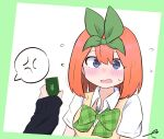 2girls anger_vein bangs blue_eyes blush bow breasts cellphone character_request collared_shirt commentary_request eyebrows_behind_hair flying_sweatdrops go-toubun_no_hanayome green_background green_bow green_ribbon hair_between_eyes hair_ribbon holding holding_phone kujou_karasuma long_sleeves medium_breasts multiple_girls nakano_yotsuba open_mouth orange_hair out_of_frame phone ribbon shirt signature sleeves_past_wrists spoken_anger_vein sweater_vest two-tone_background upper_body wavy_mouth white_background white_shirt