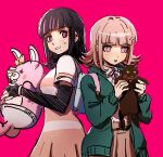 2girls akudama_drive animal backpack bag bangs black_cat black_gloves black_hair blunt_bangs brown_skirt cat collared_shirt cowboy_shot danganronpa_(series) danganronpa_2:_goodbye_despair dress eyebrows_visible_through_hair flipped_hair from_side gloves hair_ornament holding holding_animal holding_cat hood hood_down jacket medium_hair monomi_(danganronpa) multiple_girls nanami_chiaki neck_ribbon open_clothes open_jacket pink_background pink_eyes pink_ribbon pleated_skirt qosic ribbon shirt short_sleeves simple_background skirt sweatdrop swindler_(akudama_drive) upper_teeth
