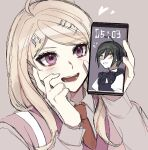 1boy 1girl ahoge akamatsu_kaede bangs black_hair blonde_hair blush blush_stickers bow cellphone clock collared_shirt crossdressing danganronpa_(series) danganronpa_v3:_killing_harmony eighth_note eyebrows_visible_through_hair hair_ornament hand_on_own_cheek hand_on_own_face hands_up heart long_hair long_sleeves looking_at_viewer musical_note musical_note_hair_ornament necktie open_mouth pale_skin phone purple_bow raonal97 saihara_shuuichi shirt short_hair smartphone smile white_shirt yellow_eyes