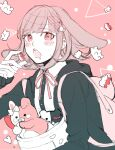 1girl backpack bag bangs black_jacket black_shirt blush candy cat_bag collared_shirt danganronpa_(series) danganronpa_2:_goodbye_despair eyebrows_visible_through_hair food gummy_bear hair_ornament holding holding_candy holding_food hood jacket long_sleeves looking_at_viewer medium_hair monokuma monomi_(danganronpa) nanami_chiaki neck_ribbon open_clothes open_jacket open_mouth pink_background pink_eyes pink_ribbon raonal97 ribbon shirt smile symbol_commentary two-tone_shirt upper_body upper_teeth