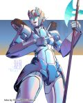 1girl artist_name autobot blue_eyes chromia collaboration english_commentary glowing glowing_eyes highres holding holding_lance holding_polearm holding_weapon lance looking_down mecha no_humans open_mouth pointing_to_the_side polearm science_fiction sidvenblu solo transformers virtual_mockingbird weapon