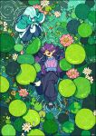 2boys absurdres abyff14 arms_up black_pants blue_hair blue_horns closed_eyes crossed_legs fengxi_(the_legend_of_luoxiaohei) fish flower from_above highres horns leaf lily_(flower) lily_pad multiple_boys open_mouth pants partially_submerged pink_flower pointy_ears purple_hair ripples signature smile the_legend_of_luo_xiaohei white_flower wide_shot xuhuai_(the_legend_of_luoxiaohei)