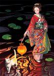 1girl black_hair blush cat closed_eyes holding holding_lantern japanese_clothes june_mina kimono lantern lily_pad long_sleeves obi original print_kimono ripples sash smile solo standing white_cat wide_shot
