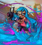 1girl aqua_eyes aqua_hair artist_name bangs bike_shorts black_shorts blunt_bangs chromatic_aberration commentary dated domino_mask english_commentary erin_liona fangs full_body furrowed_eyebrows grin holding holding_weapon ink_tank_(splatoon) inkling legs_apart long_hair looking_away looking_to_the_side mask nintendo outdoors paint paint_splatter pointy_ears red_shirt shirt short_hair shorts sideways_glance signature single_vertical_stripe sleeveless sleeveless_shirt smile solo splatoon_(series) splatoon_1 squid standing striped striped_shorts tentacle_hair v-shaped_eyebrows very_long_hair weapon weapon_request