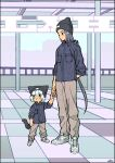 2boys absurdres abyff14 beanie black_hair black_headwear black_shirt black_tail blush brown_pants cat_boy cat_tail child green_eyes hat height_difference highres indoors long_hair long_sleeves luoxiaohei matching_outfit multiple_boys pants shirt shoes short_hair standing tail the_legend_of_luo_xiaohei white_footwear white_hair wide_shot wuxian_(the_legend_of_luoxiaohei)