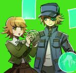 3boys :d akudama_drive artist_name ball blush brown_eyes brown_hair brown_shirt brown_skirt closed_eyes cowboy_shot danganronpa:_trigger_happy_havoc danganronpa_(series) fujisaki_chihiro green_background green_eyes grey_shirt hacker_(akudama_drive) hands_up hat holding holding_ball jacket long_sleeves looking_at_another multiple_boys open_mouth otoko_no_ko qosic ribbon shirt short_hair skirt smile upper_teeth